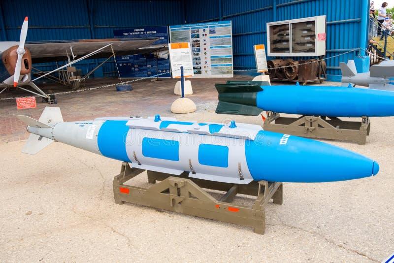 Den gemensamma direkta attackammunitionen (JDAM) visade på det israeliska flygvapenmuseet royaltyfria foton