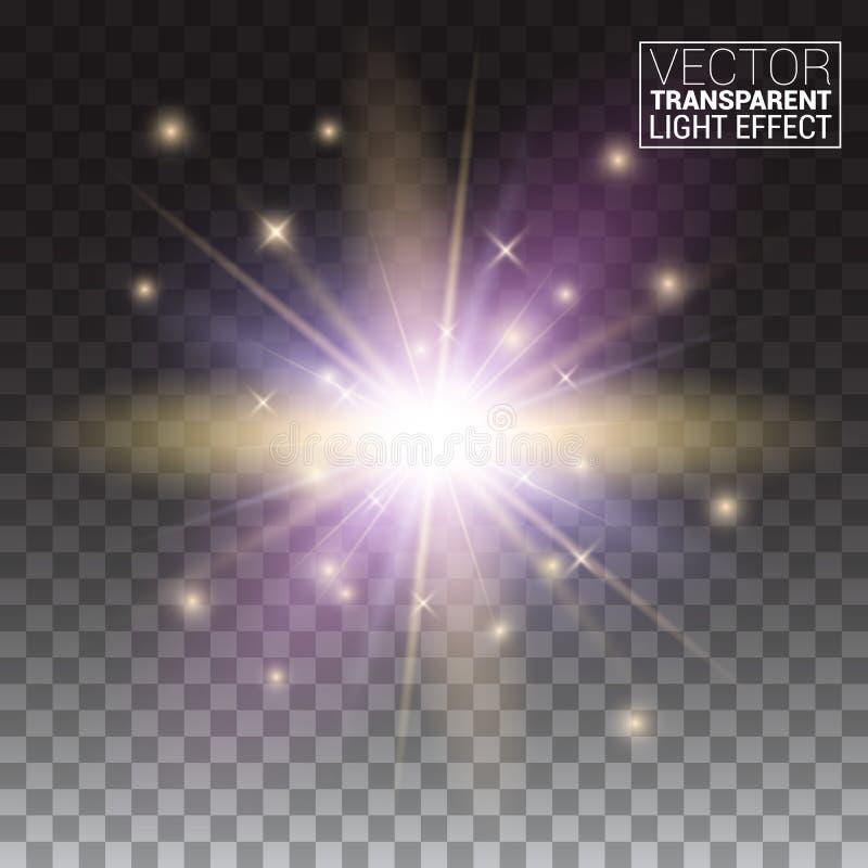 Den genomskinliga vektorn verkställer serie Det lätta utbytet av ung stjärna för sken för ljusa strålar för bakgrund exploderar u vektor illustrationer
