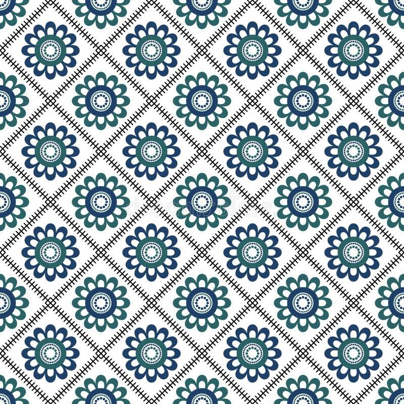 Den geometriska blomman formar den sömlösa modellen royaltyfria bilder