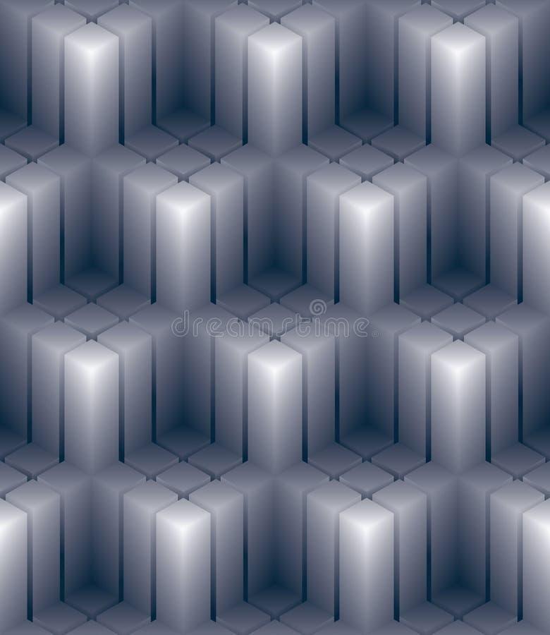 Den geometriska dekorativa tapeten 3d, gör sammandrag kvadrerat sömlöst klappar royaltyfri illustrationer
