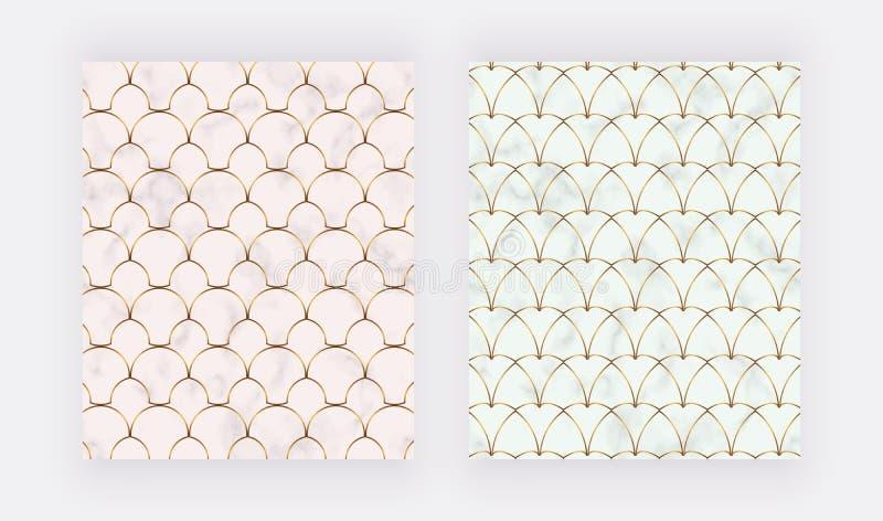 Den geometriska designen med guld- linjer på marmorerar textur stock illustrationer