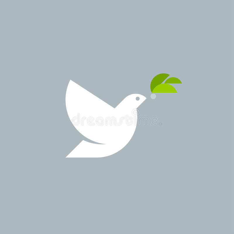 Den geometriska mallen för stilvektorlogoen av fred dök med oliv royaltyfri illustrationer