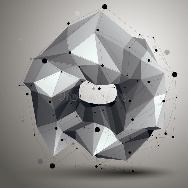 Den geometriska monokromma polygonal strukturen med linjer kopplar ihop, modernt royaltyfri illustrationer