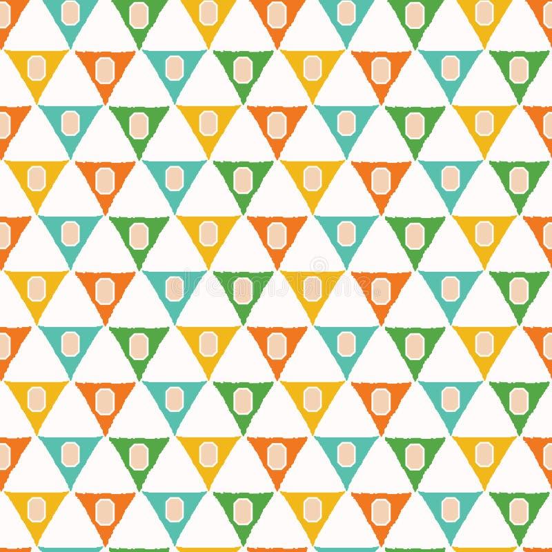 Den geometriska retro triangeln formar den s?ml?sa modellen ?ver hela tryckvektorbakgrund Bunting modestil f?r sommar Moderiktiga stock illustrationer
