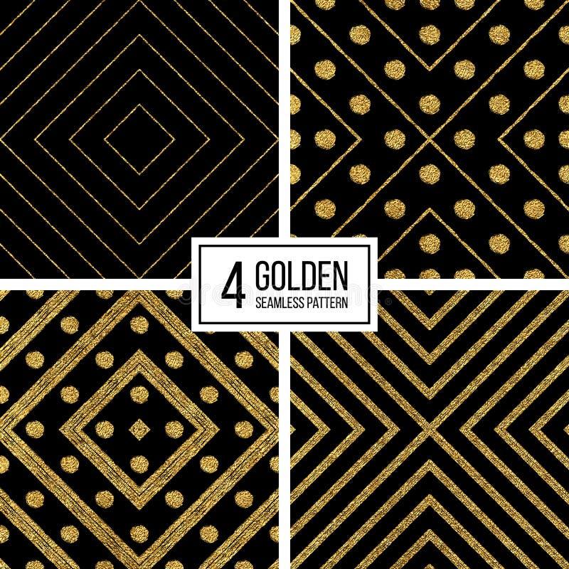Den geometriska sömlösa modellen av guld blänker band och cirklar vektor illustrationer