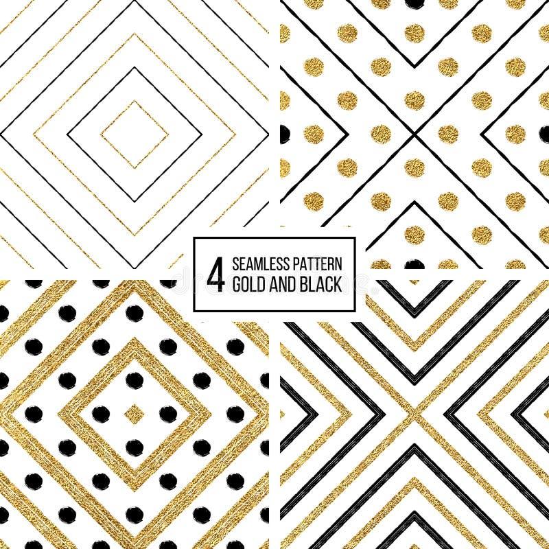 Den geometriska sömlösa modellen av guld och svart gör randig cirklar stock illustrationer