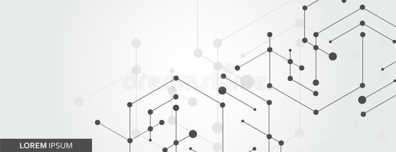 Den geometriska sexhörningen förbinder med förbindelselinjen och prickar Enkel teknologidiagrambakgrund vektorbanerdesign royaltyfri illustrationer