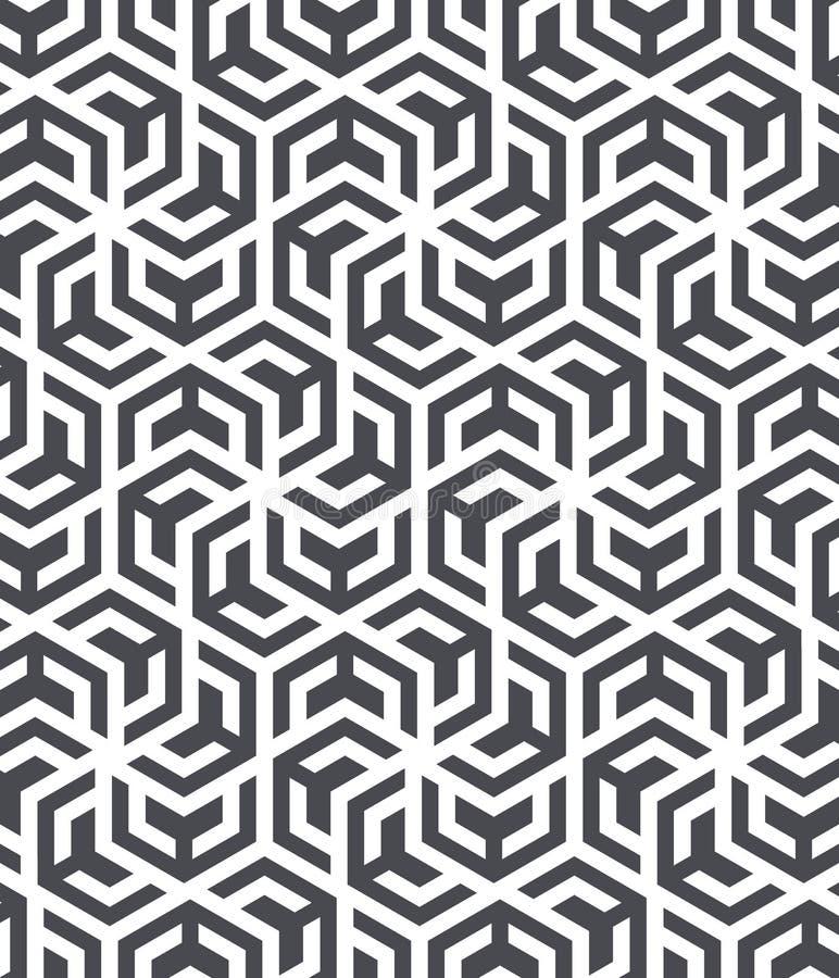 Den geometriska vektormodellen som upprepar bandlinjen cirklar på sexhörning, formar, monokromt stilfullt objekt Ren design för t stock illustrationer