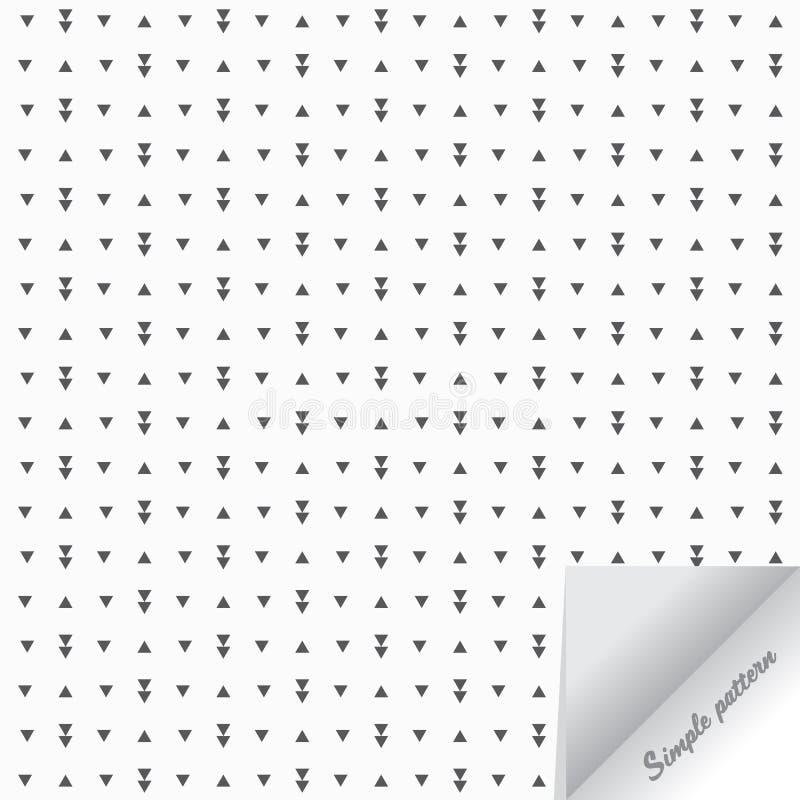 Den geometriska vektormodellen som upprepar den lilla triangeln, lek, eftersänder knapp- och pappersflipeffekt på hörn stock illustrationer