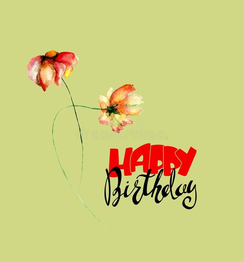 Den Gerber tusenskönan blommar med lycklig födelsedag för titel royaltyfri illustrationer