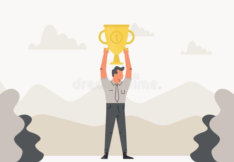 Den Geschäftsmann feiernd, der Sieger hält, höhlen Sie Trophäe über seinem Kopf Geschäftsillustration im flachen Design Erfolg, M stock abbildung