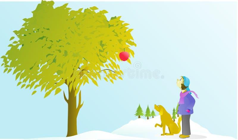Den Gg-pojken och hunden ser äpplen i vinter royaltyfri fotografi