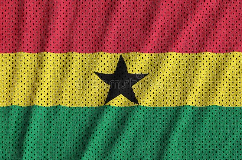 Den Ghana flaggan skrivev ut på ett tyg för ingrepp för polyesternylonsportswear w royaltyfri bild