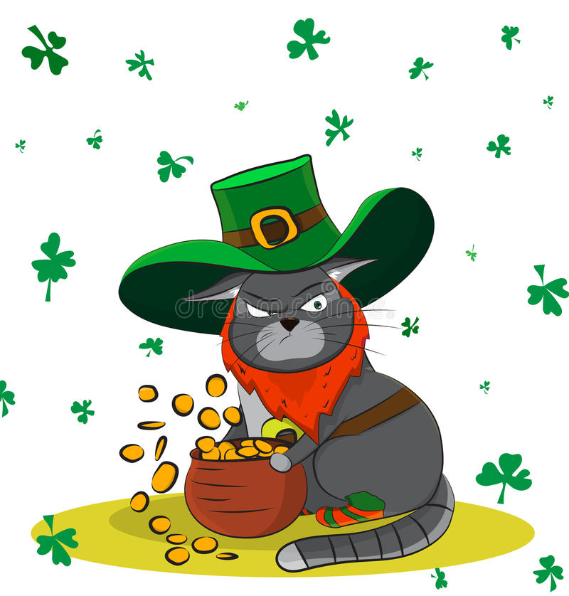 Den giriga katten klädde som ett troll och en guld Dag för affischSt Patrick ` s royaltyfria bilder