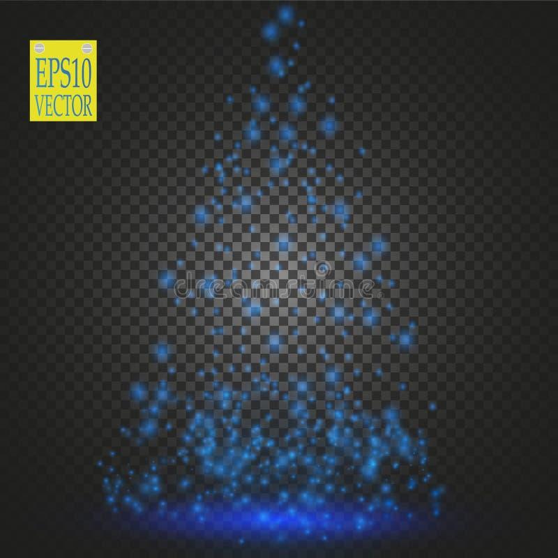 Den gjorda julgranen, vit blänker bokehljus och mousserar Den glänsande stjärnan, solpartiklar och gnistor med linsen blossar vektor illustrationer