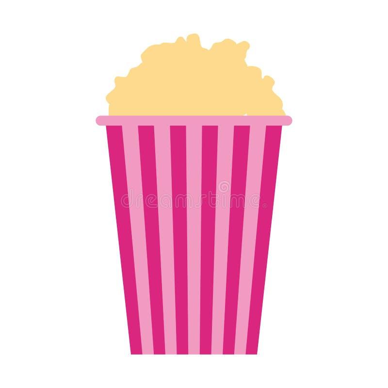 Den gjorde randig hinken med popcorn isolerade design royaltyfri illustrationer
