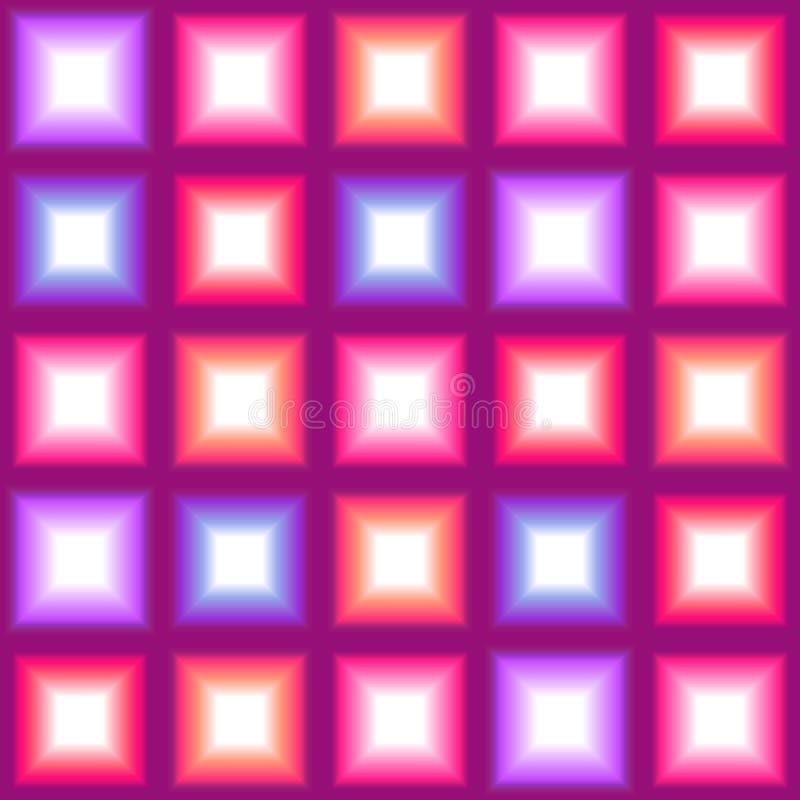 Den glänsande flerfärgade fyrkanten tänder sömlös bakgrund stock illustrationer