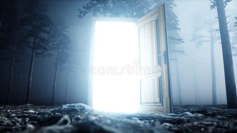 Den glödande dörren i dimmanattskog tänder portalen Mistic och magiskt begrepp framförande 3d royaltyfri illustrationer