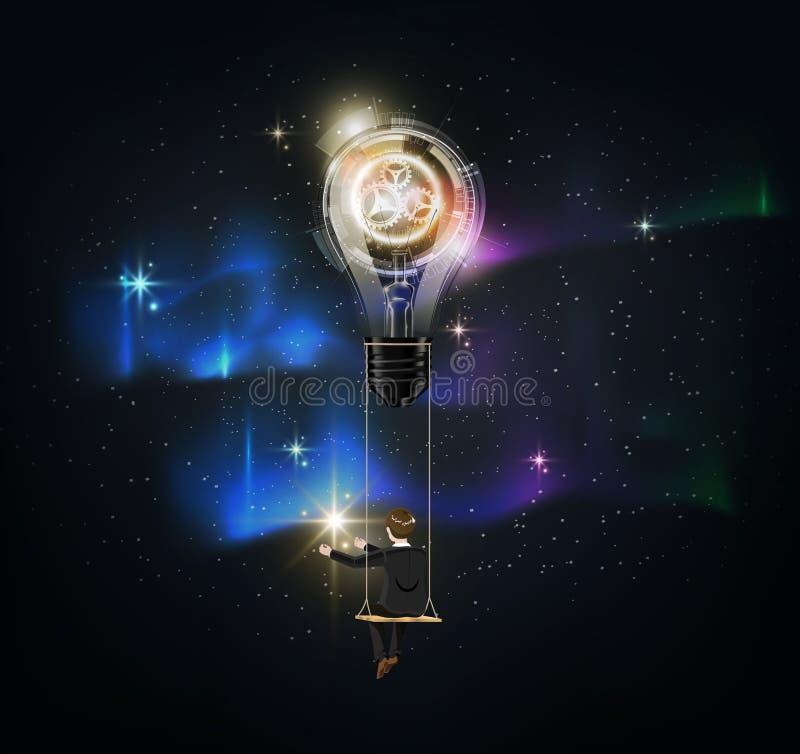 Den glödande futuristiska abstrakta ljusa kulan är bland många stjärnor på blå himmel för morgonrodnad, affärsman på stjärnan för vektor illustrationer
