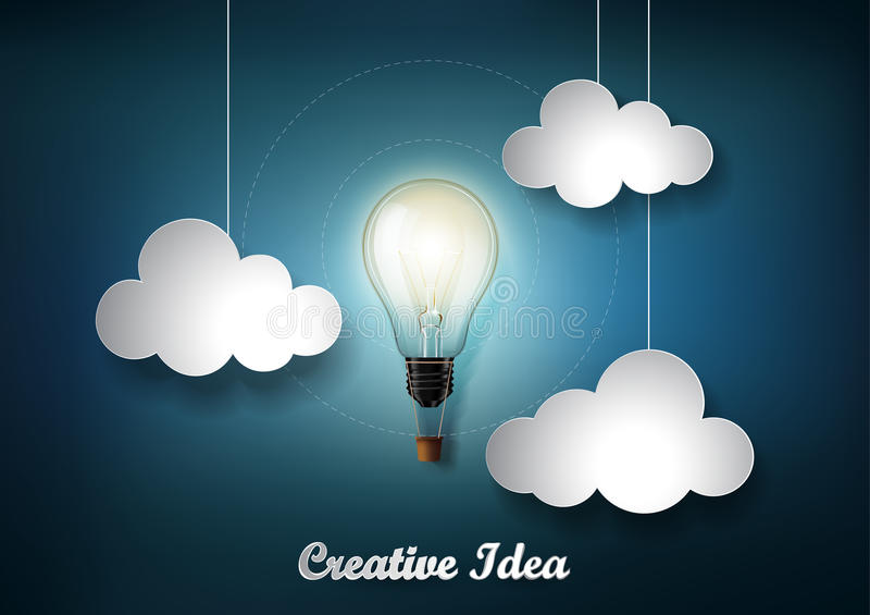 Den glödande ljusa kulan är bland mycket moln på mörker - blå bakgrund med stil för origamipapperssnittet, framställning av den i stock illustrationer