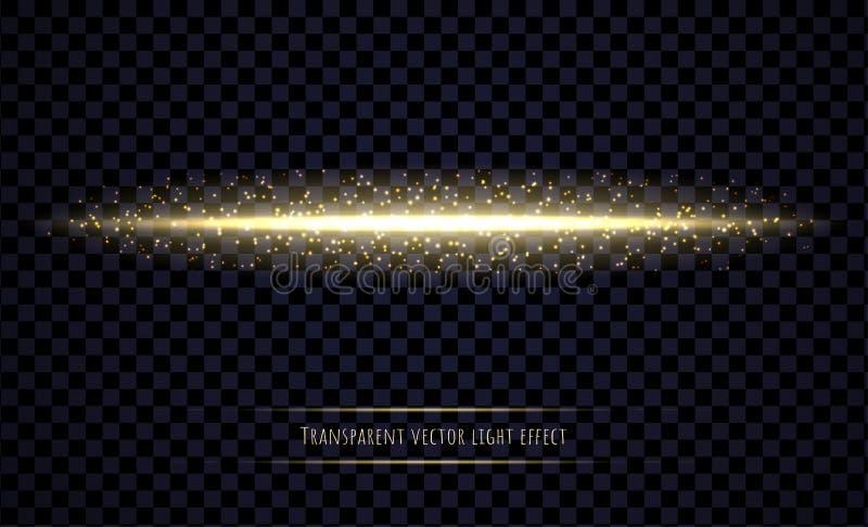 Den glödande ljusa strålen med mousserar isolerat på genomskinlig bakgrund royaltyfri illustrationer