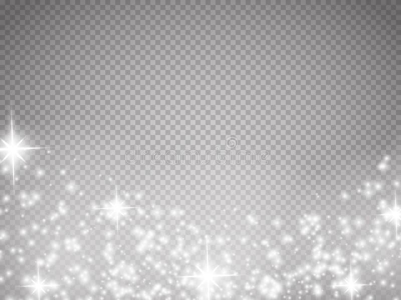 Den glödspecialeffektljus, signalljuset, stjärnan och bristningen isolerade gnistan vektor illustrationer