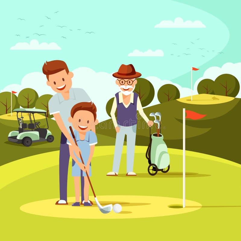 Den glade fadern och morfadern undervisar Little Boy för att spela golf royaltyfri illustrationer