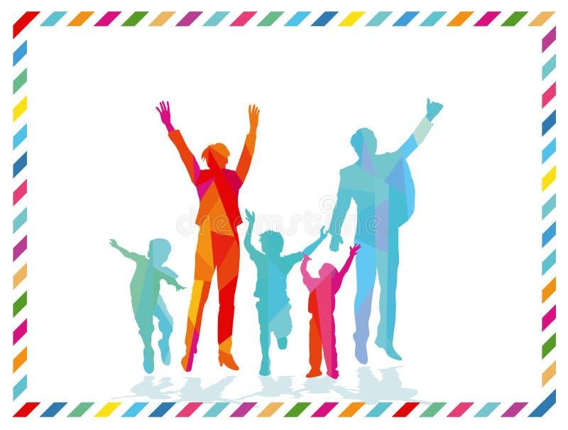 Den glade familjen är gladlynt stock illustrationer