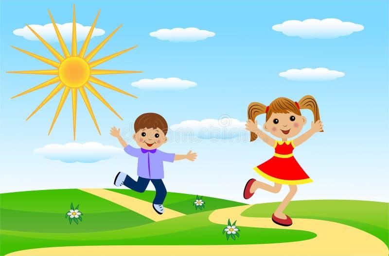Den glade flickan och pojken skynda sig på en bana royaltyfri illustrationer