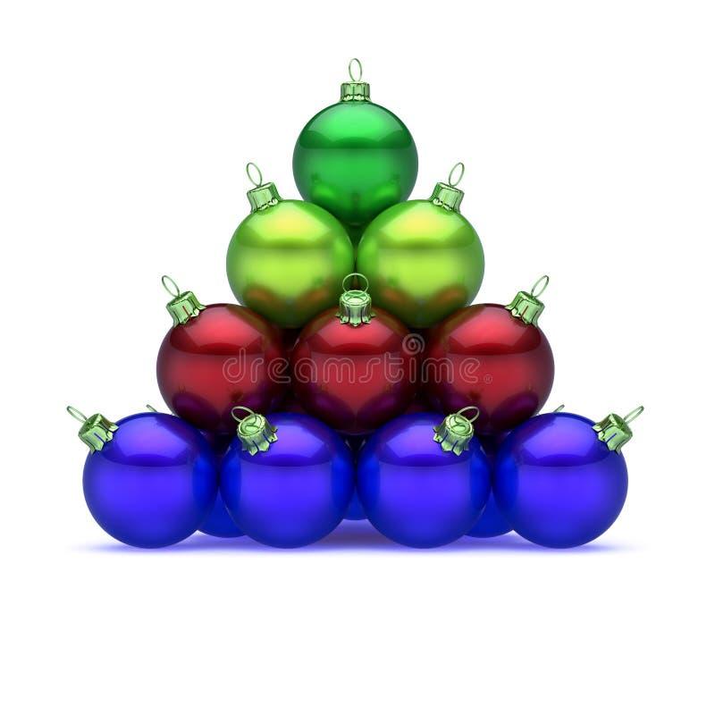 Den glade pyramiden för Xmas-julbollen ordnade skinande färgrikt stock illustrationer