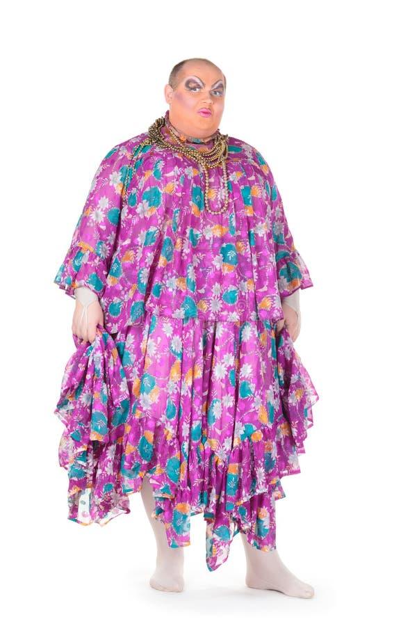 Den Gladlynt Manen, Transvestit, I Ett Kvinnligt Passar Royaltyfri Fotografi