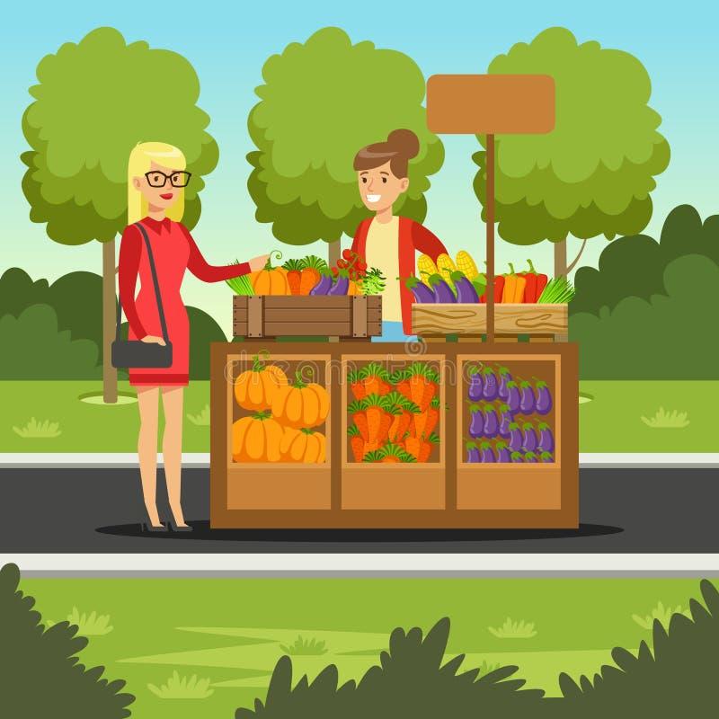 Den gladlynta bondekvinnan som säljer grönsaker på henne stallen, lokala bönder, marknadsför vektor illustrationer