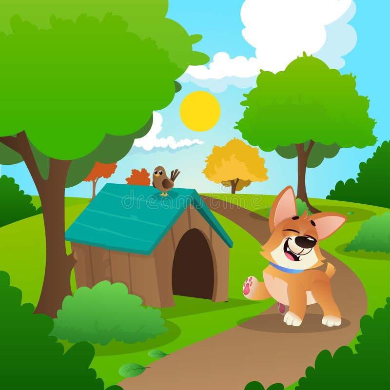 Den gladlynta corgien som in går, parkerar Naturlandskap med grönt gräs, träd, buskar och det trähuset för hund s Sommar royaltyfri illustrationer