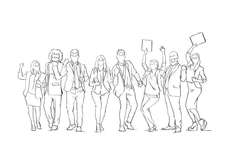 Den gladlynta gruppen för konturaffärsfolk skissar lycklig bakgrund för BusinesspeopleTeam With Raised Hands On vit royaltyfri illustrationer