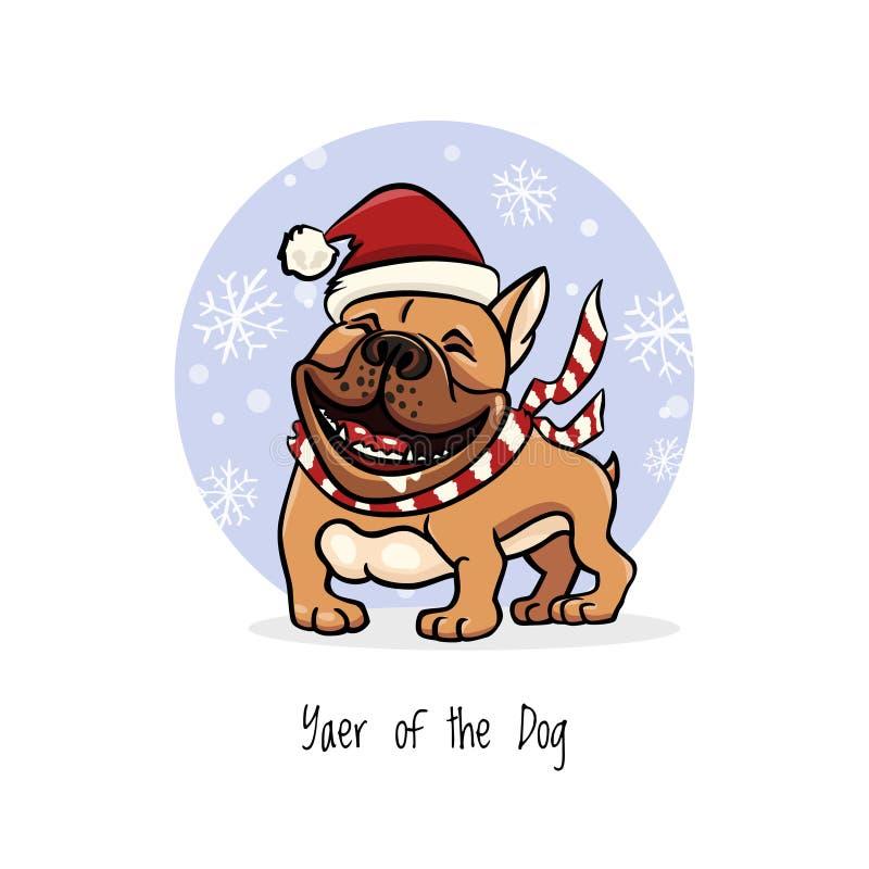 Den gladlynta illustrationen, den engelska bulldoggen som bär clouth för det nya året, skrattar roligt, 2018 år av hunden arkivbilder