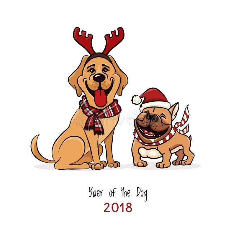 Den gladlynta illustrationen, labrador och bulldoggen som bär clouth för det nya året, skrattar roligt, 2018 år av hunden stock illustrationer