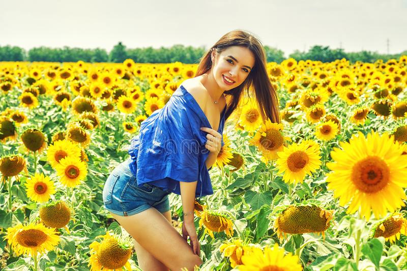 Den gladlynta kvinnan på en sommar går i fältet med solrosor royaltyfria bilder