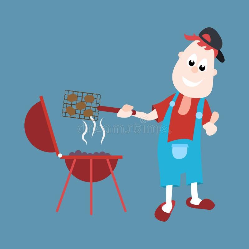 Den gladlynta mannen lagar mat en grillfest p? gallret den fr?mmande tecknad filmkatten flyr illustrationtakvektorn stock illustrationer