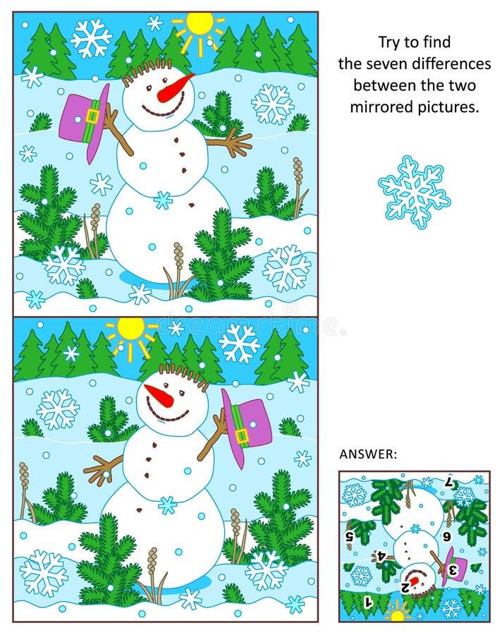 Den gladlynta snögubben finner skillnaderna mellan det spegelförsedda bildpusslet vektor illustrationer