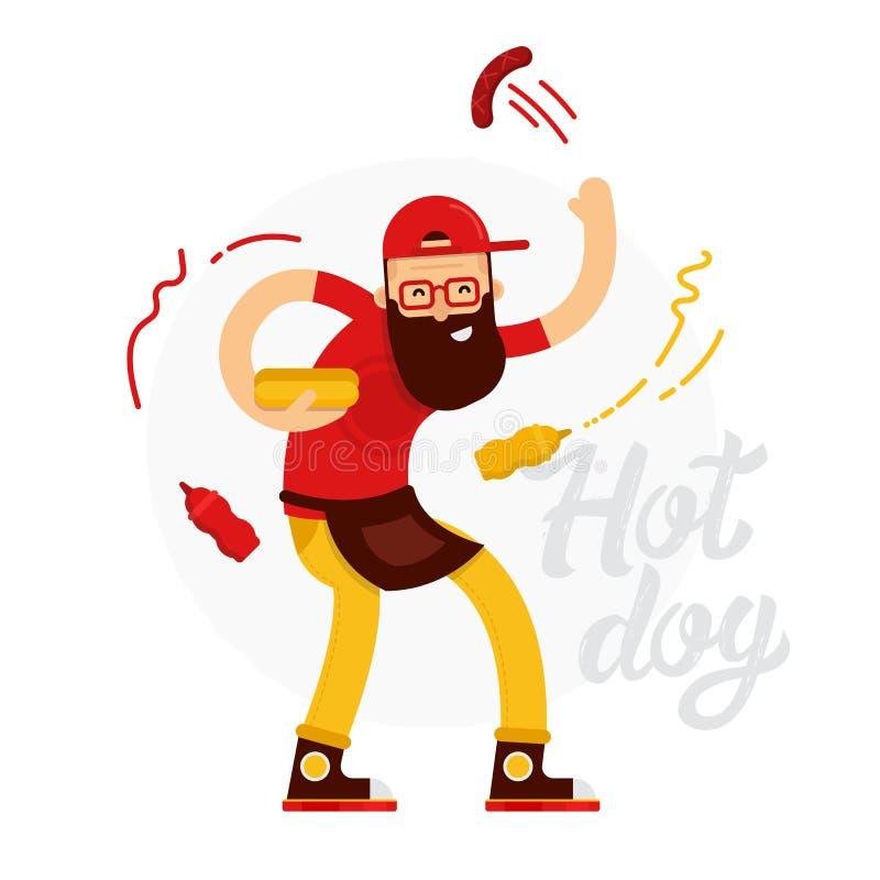 Den gladlynta varmkorvsäljaremannen gör varmkorven med ketchup och senap stock illustrationer