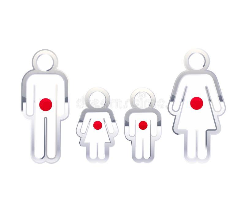 Den glansiga metallemblemsymbolen i man-, kvinna- och barns former med Japan sjunker, den infographic beståndsdelen på vit stock illustrationer