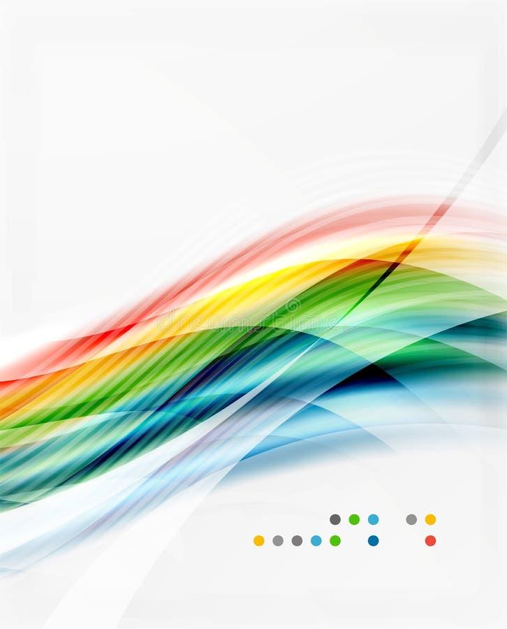 Den glansiga suddiga skinande vågen fodrar, färgrika band royaltyfri illustrationer