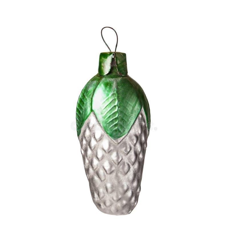 Den Glass julgrangarneringleksaken i form av sörjer kotten som isoleras på vit bakgrund royaltyfri foto