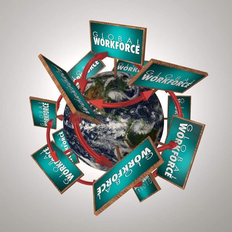 Den globala arbetskraften undertecknar planetanställda runt om illustration för värld 3d vektor illustrationer