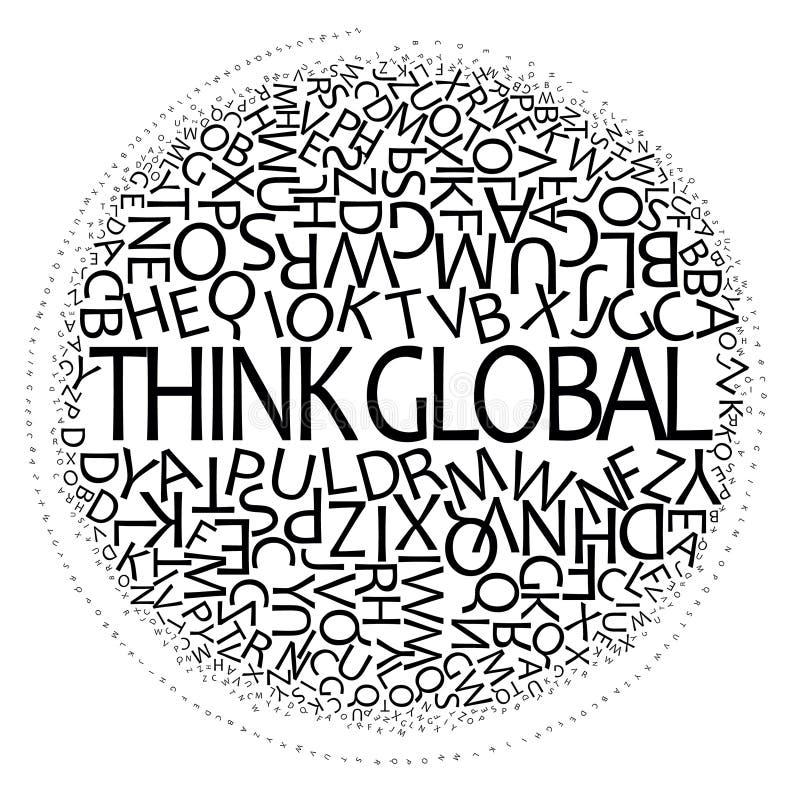 den globala designen tänker stock illustrationer