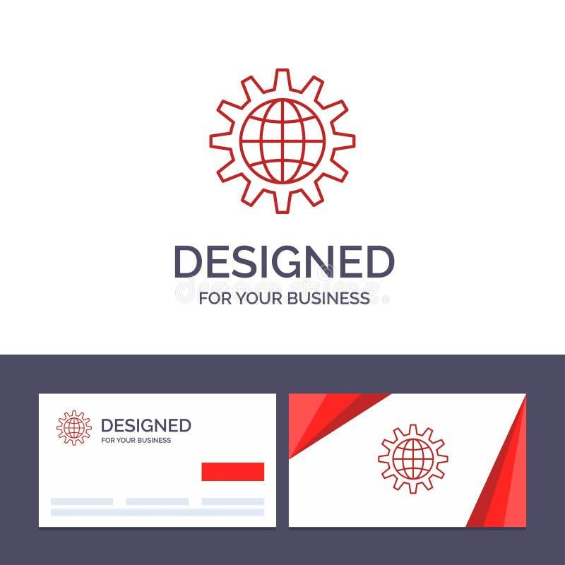 Den globala idérika mallen för affärskortet och logo, affär, framkallar, utveckling, kugghjulet, arbete, världsvektorillustration royaltyfri illustrationer