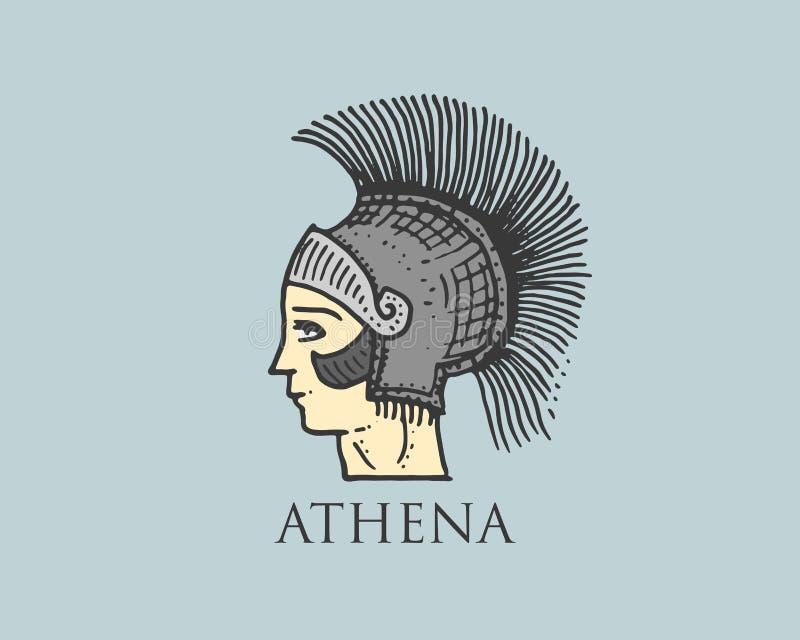 Den Godness Athena logoen forntida Grekland, antik symboltappning, den inristade handen som in dras, skissar eller träsnittstil,  stock illustrationer