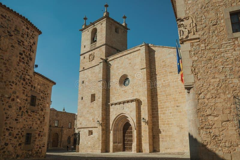Den gotiska Santa Maria Cathedral på Caceres royaltyfri bild