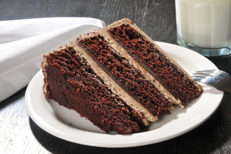 Den gourmet- chokladkakan med mjölkar fotografering för bildbyråer