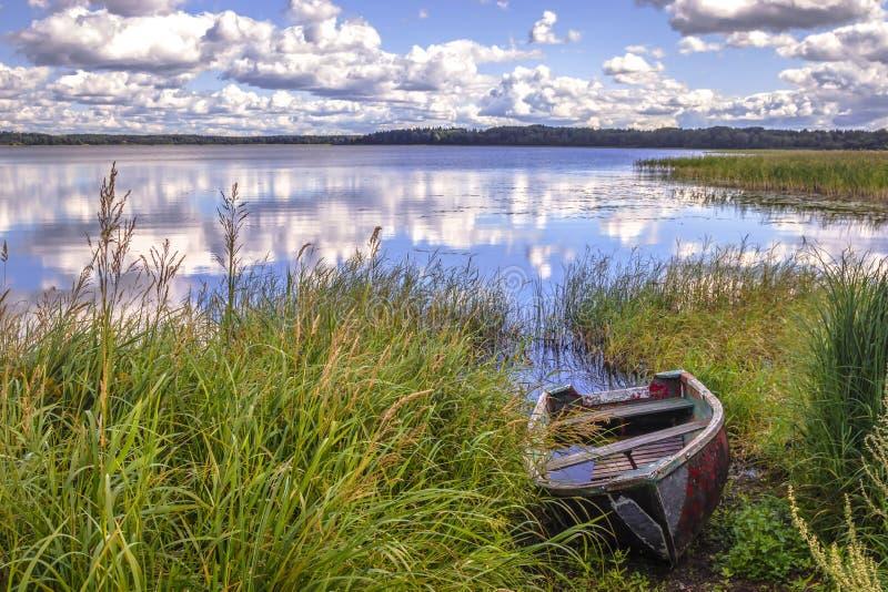 Den gräs- kusten av sjön med ett gammalt träfartyg royaltyfri bild